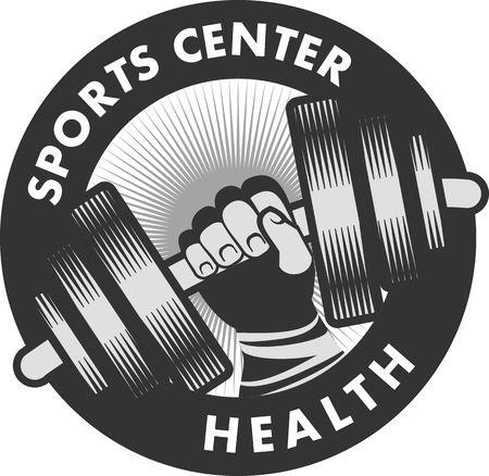 levantar pesas: Vector de la insignia del emblema de la mano centro deportivo con una mancuerna en un fondo blanco Vectores