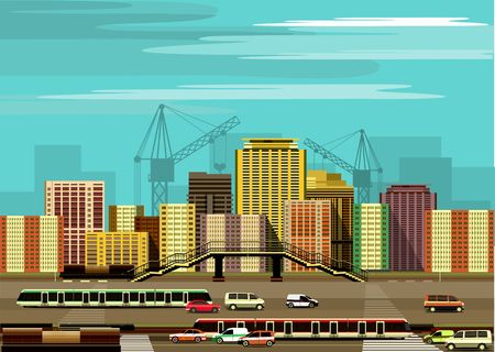 motorway: vector illustration of the industrial landscape of the city motorway and transport Illustration