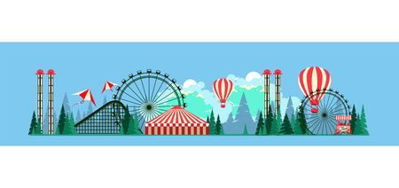 vector illustration poster amusement park rides and a carnival tent Illustration