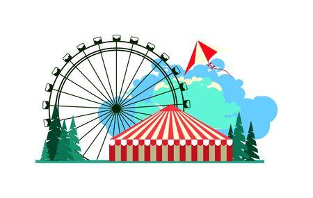 ベクトル イラスト ポスター遊園地乗り物とカーニバル テント  イラスト・ベクター素材