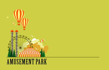 amusement park rides: vector illustration poster amusement park rides and a carnival tent Illustration
