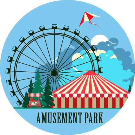 amusement park rides: vector emblem round shape amusement park rides and a carnival tent