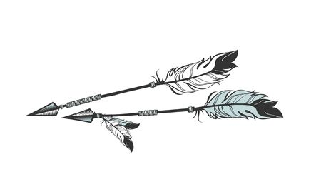 warrior tribal tattoo: vector illustration two arrows decorated with feathers