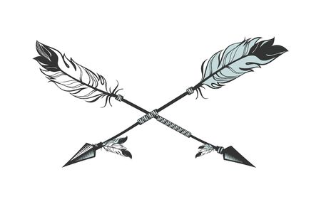 graphics design: vector illustration two arrows decorated with feathers