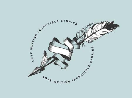 vector emblem badges arrow entwined ribbons Steam punk