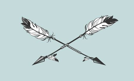 two arrows: vector illustration two arrows decorated with feathers