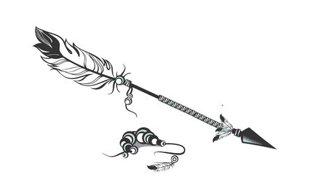 white feathers: vector illustration one arrow decorated with feathers and beads