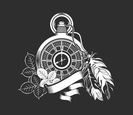 Ilustración vectorial reloj de bolsillo decorado con plumas en el fondo negro Foto de archivo - 49481289