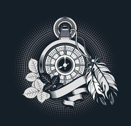 Ilustración vectorial reloj de bolsillo decorado con plumas en el fondo negro Foto de archivo - 49481293