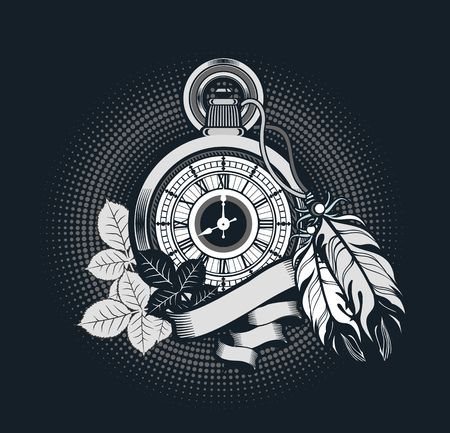 pocket watch: vector illustration pocket watch decorated with feathers on the black background