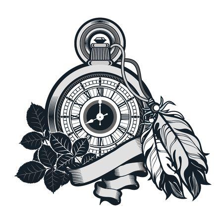 Ilustración vectorial reloj de bolsillo decorado con plumas en el fondo blanco Foto de archivo - 49481294