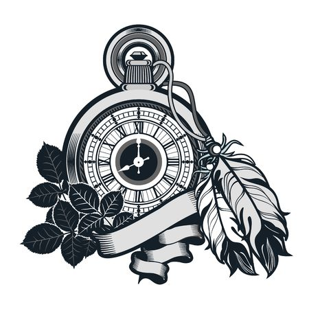 vector illustration pocket watch decorated with feathers on the white background Illustration