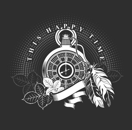old clock: vector illustration pocket watch decorated with feathers