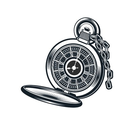 vector illustration of a pocket watch on a white background