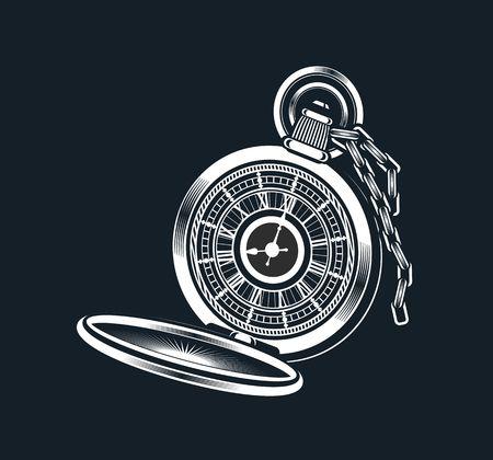 pocket watch: vector illustration of a pocket watch on a black background Illustration