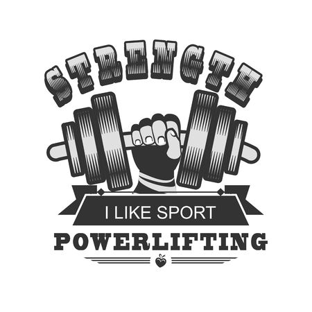 hand with dumbbell: vector illustration emblem gym trainer human hand holding a dumbbell Illustration