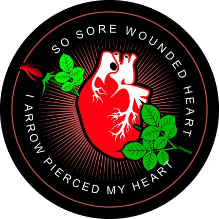 pierced: vector illustration of the human heart pierced by a rose on a round badge Illustration
