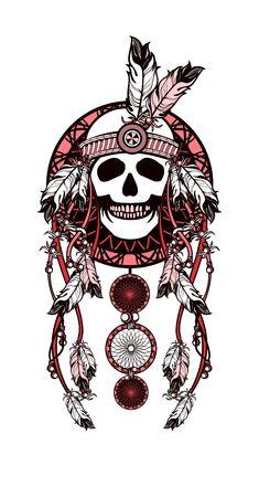 atrapasue�os: ilustraci�n vectorial de estilo �tnico. El cazador de sue�os y el cr�neo cham�n decorado con plumas y cuentas flechas con las cintas Vectores