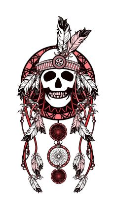dreamcatcher: Vector illustration ethnic style. Dreamcatcher and shaman skull decorated with feathers and beads arrows with ribbons Illustration