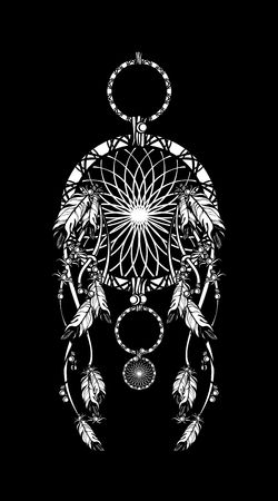vector illustratie Dreamcatcher met kralen, linten en veren in de stijl van boho Stock Illustratie