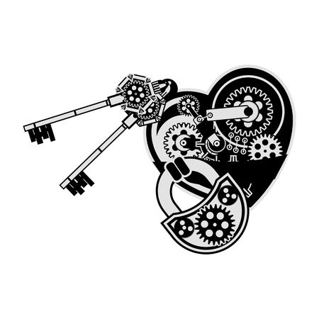 metal parts: vector illustration of a mechanical heart made of metal parts on a white background