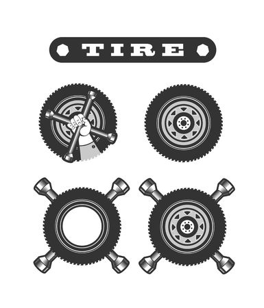 automobile workshop: vector illustration set of various types of tires on a black background Illustration