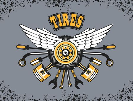 car tire: vector illustration emblem tire wheel with wings and instruments