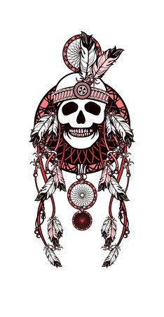 indian chief mascot: vector illustration Indian totem skull headdress with feathers