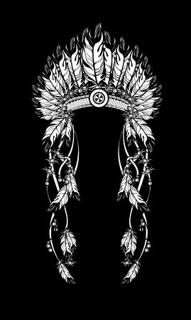 chief: vector illustration American Indian headdress with feathers and ribbons