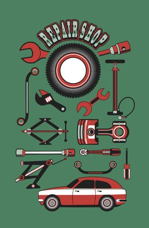 car garage: vector illustration set of tools for car repair