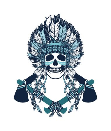 vector illustration of an Indian shaman totem skull in a headdress of feathers Illustration