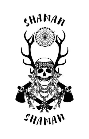 shaman: vector illustration of an Indian shaman totem skull in a headdress of feathers Illustration