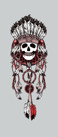 indian chief headdress: vector illustration Indian totem skull headdress with feathers