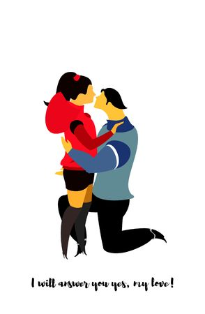 love is it: vector illustration on white background couple in love in different situations, love it. on a white background