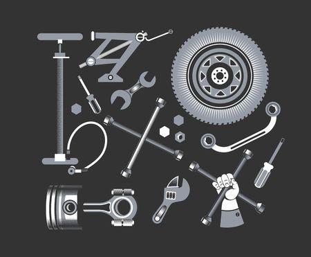 vector set van gereedschappen en onderdelen van de auto op een zwarte achtergrond