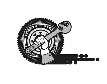 car tire: vector illustration for a repair shop, a human hand with a wrench on the background of the wheel