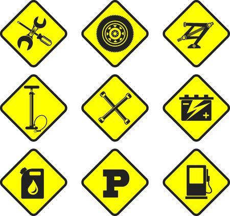 auto repair: set of nine icons repair auto repair