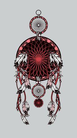 shaman: Vector illustration American Indian dreamcatcher of shaman on black background