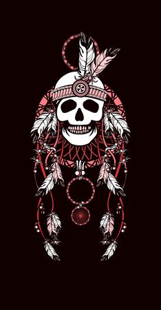ethnic tattoo: vector illustration Indian totem skull headdress with feathers