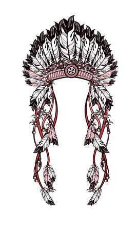 totem indien: illustration vectorielle coiffe amérindienne avec des plumes et rubans