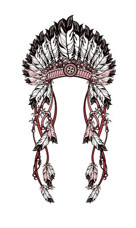 dresses: vector illustration American Indian headdress with feathers and ribbons