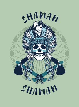 shaman: vector illustration of an Indian shaman totem skull in a headdress of feathers Illustration