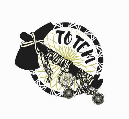american tomahawk: vector illustration of an Indian tomahawk totem emblem