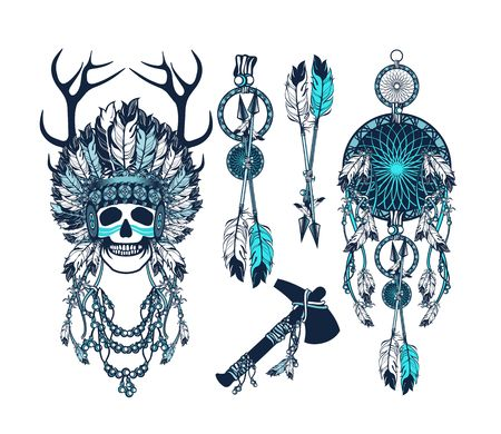 shaman: vector set of the epic Indian shaman skull boom a native religion Illustration