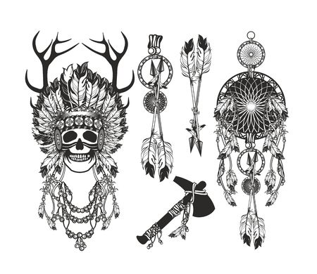 chieftain: vector set of the epic Indian shaman skull boom a native religion Illustration