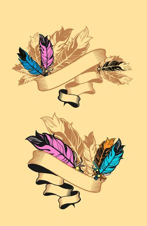 blank banner: vector ribbon adorned with beautiful feathers stranded Illustration