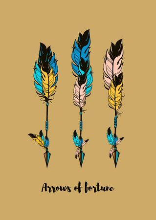 indian tattoo: three multi-colored arrows vector illustration on a beige background