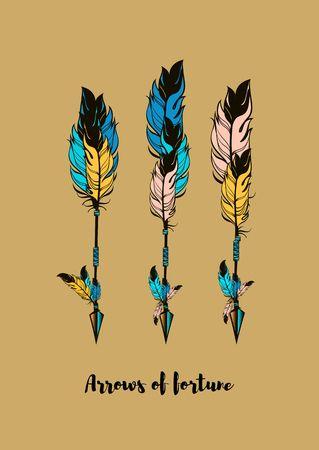 indio americano: tres flechas multicolores ilustración vectorial sobre un fondo de color beige