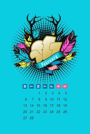 Calendario del vector en febrero de 2017 por el mes Un vale de
