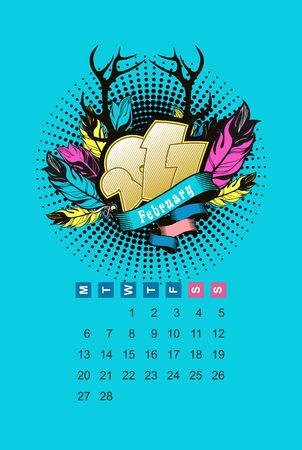 Vector calendar in February 2017 for one month voucher